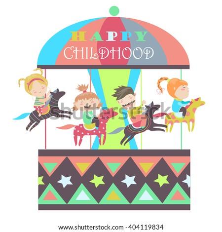 Happy kids riding merry go round  - stock vector