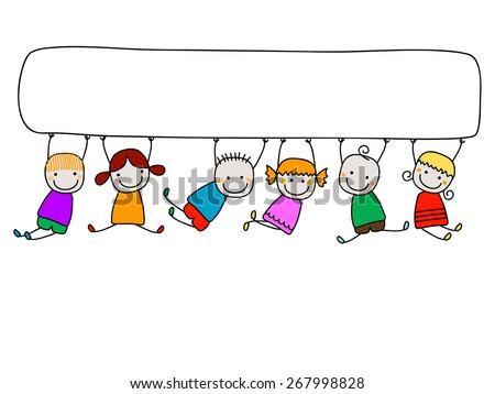 happy kids with banner - stock vector