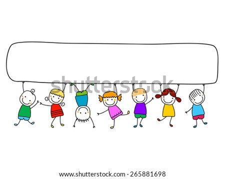 happy kids with banners - stock vector