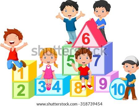 Happy  kids with numbers blocks - stock vector