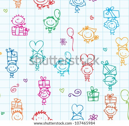Happy kids with presents seamless background on school paper - stock vector