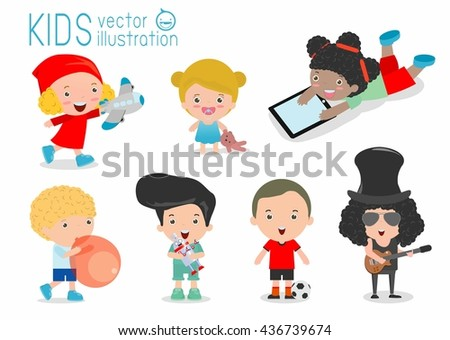 happy kids with toys, children play with toys, cute kids playing with toys, child with toys,kids at playground on white background, Happy children playing, kids time, kid toys, child toy, Illustration - stock vector