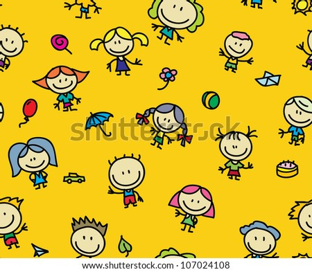 Happy kids with toys seamless background - stock vector