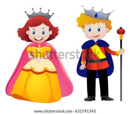Happy king and queen illustration