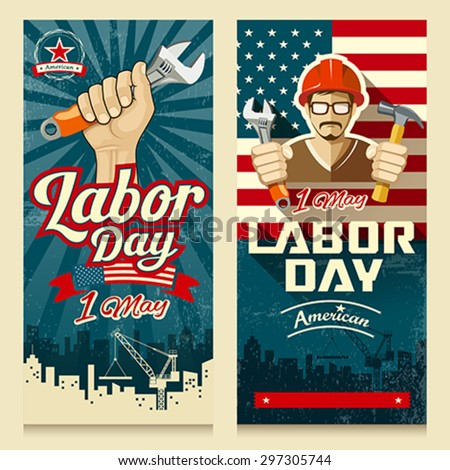 Happy Labor day american banner collections concept design, vector illustration - stock vector