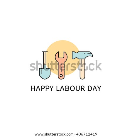 Happy labor day greeting card labour stock vector 406712419 happy labor day greeting card labour day concept working tools vector illustration m4hsunfo