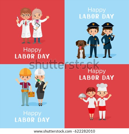 Happy labor day greeting card set stock vector royalty free happy labor day greeting card set people of different professions people in uniform m4hsunfo