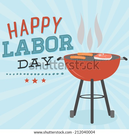 Happy Labor Day Grill Barbecue BBQ Cookout Vector | Hot Dogs, Steak Grilling - stock vector