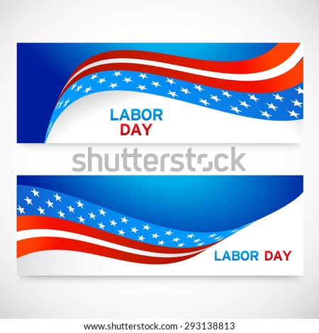 Happy Labor day header,banner United States of America. American Flag header design, vector illustration.
