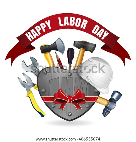 Happy Labor Day. International Workers Day. May Day. Greeting card for Labor Day with a set of tools. Vector illustration
