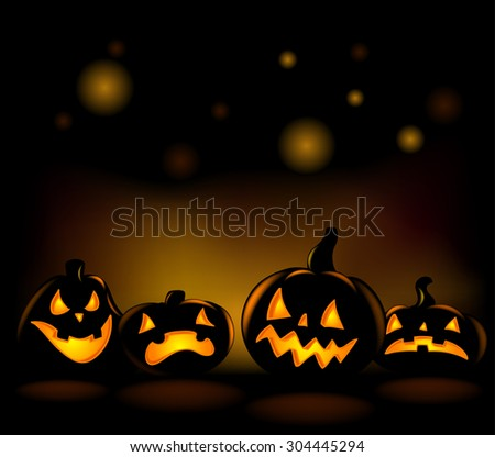 Happy laughing Halloween lanterns vector illustration.  - stock vector