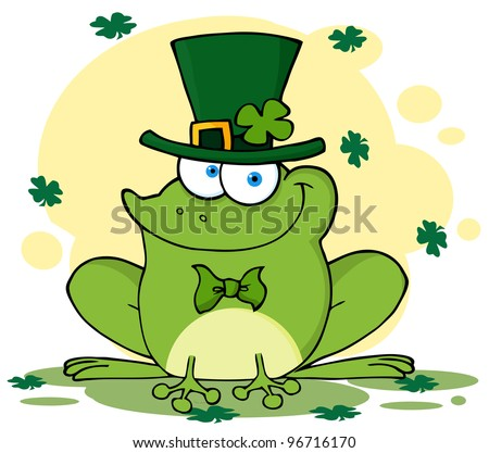 Happy Leprechaun Frog With Background. Jpeg version also available in gallery. - stock vector