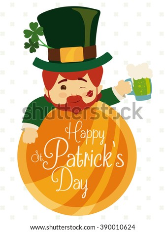 Happy leprechaun partying with a green beer on giant gold coin for St. Patrick's Day fest. - stock vector