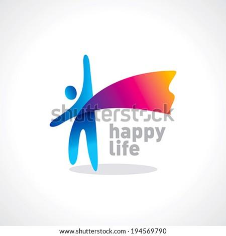 happy life symbol vector - stock vector