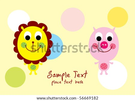 happy lion and piggy friend - stock vector
