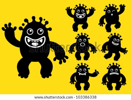 Happy Liquid / ink Monster Character - stock vector