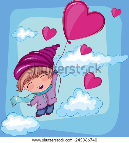 Happy little boy flying on a heart-shaped balloon  - stock vector