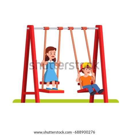 Happy Little Boy Girl Swinging On Stock Vector 688900276 ...