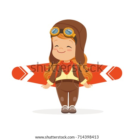 Happy little boy in pilot costume playing with wings, kid dreaming of piloting the plane vector Illustration
