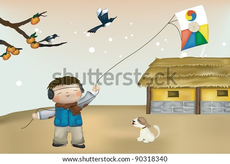 Happy Little Boy with Animals - a rural landscape