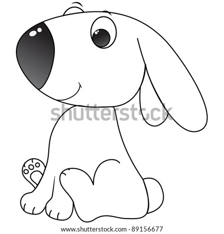 happy little bunny cartoon, line art, coloring