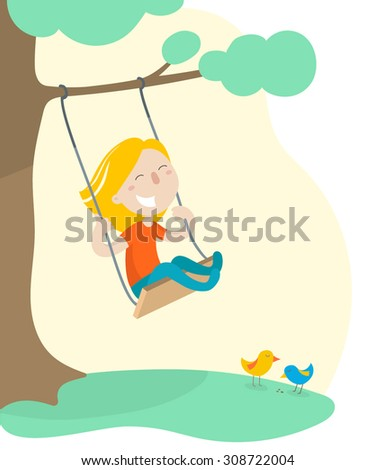 Happy little girl on a swing. Flat design. Vector illustration.