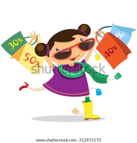 happy little girl running with shopping bags - stock vector