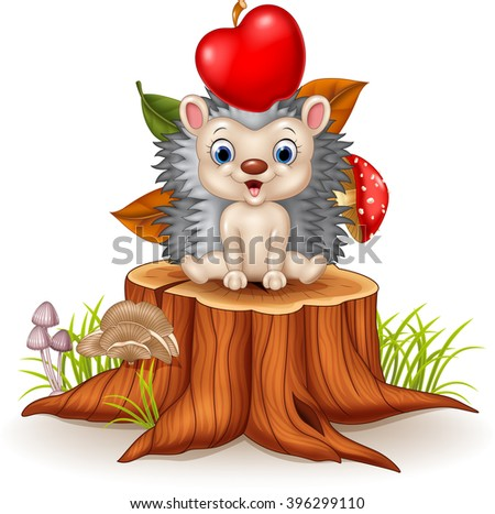 Happy Little hedgehog sitting on tree stump - stock vector