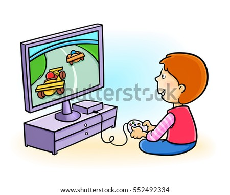 Happy little kid playing video game