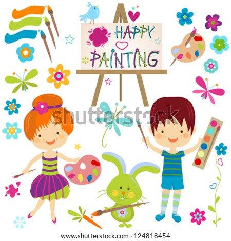 happy little painters; girl and boy painting - stock vector