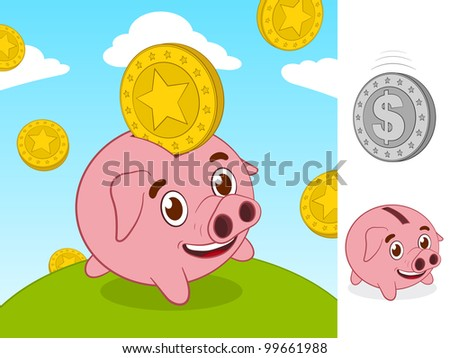 Happy little piggy bank and gold coin - stock vector
