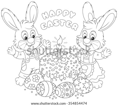 Happy little rabbits with a decorated Easter cake and colorfully painted eggs, a black and white vector illustration for a coloring book