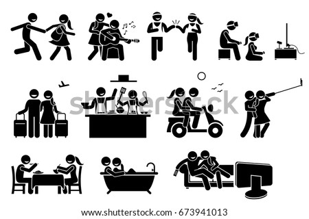 Happy Lover Couple Activities. Stick figures depict boyfriend and girlfriend dating and doing various indoor and outdoor activities together.