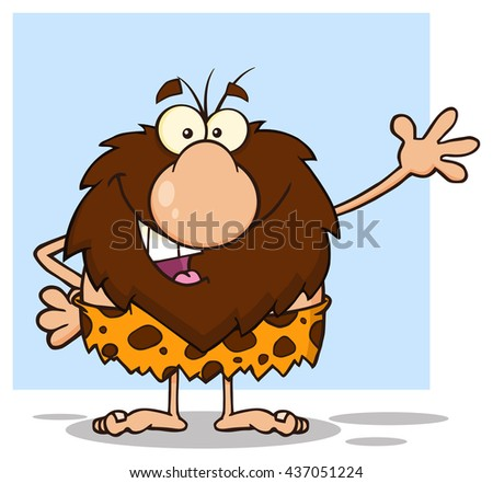 Happy Male Caveman Cartoon Mascot Character Waving For Greeting. Vector Illustration Isolated On White Background