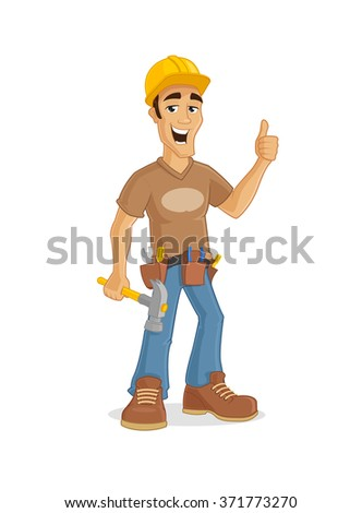 Happy male contractor holding hammer and showing thumb up vector cartoon Illustration. Eps10 file - stock vector