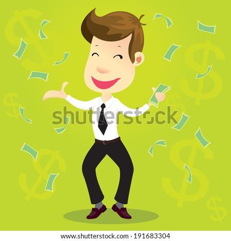 Happy man enjoying the rain of money - stock vector