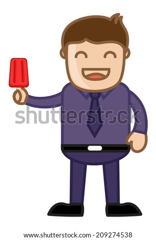 Happy Man Having a Lolly Ice Cream - stock vector