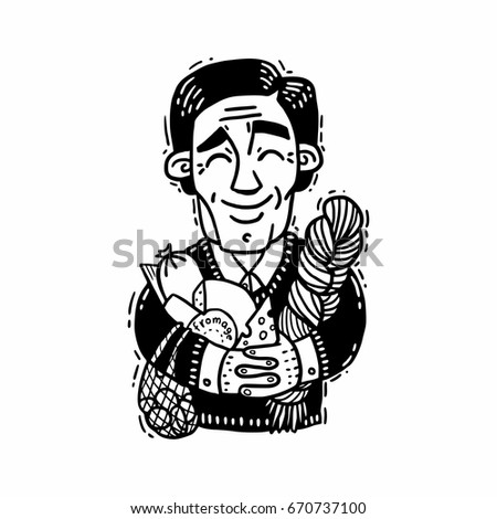Happy man hugging cheese black and white drawing
