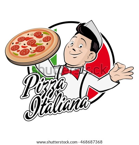 happy man in a badge with text that means italian pizza