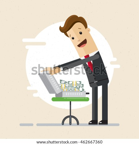 Happy man in suit, businessman or banker look at money in case. Receive money in bank, credit. Vector, illustration, flat