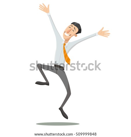 Happy man is jumping. Vector illustration.