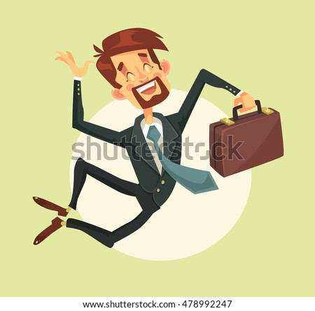 Happy man jumping. Vector flat cartoon illustration