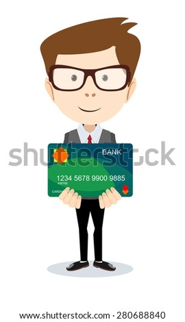 Happy man - office worker holding a bank card. Stock vector illustration Eps10 file.