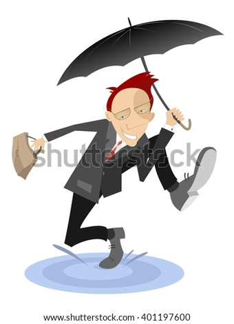 Happy man. Smiling man with the umbrella and bag excited about something runs through a puddle