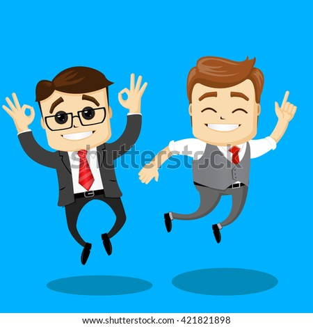 Happy manager characters jumping. Two businesmem happy for their success. Flat illustration.  - stock vector