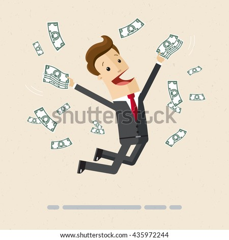 Happy manager or business man getting a lot of money and jumping for joy. Vector, flat, illustration - stock vector