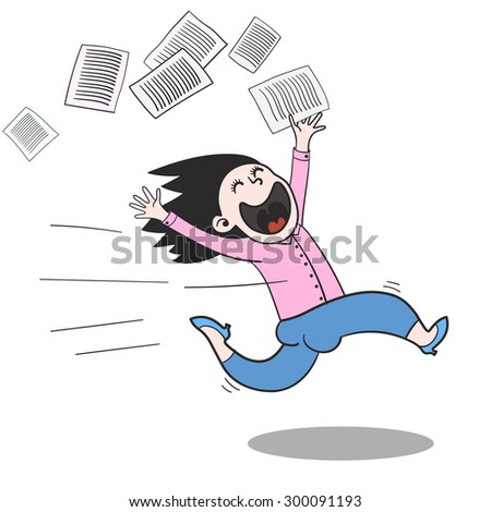 running home office. Happy Manager Running Home From The Office. Hand Drawn Vector Illustration. Office F