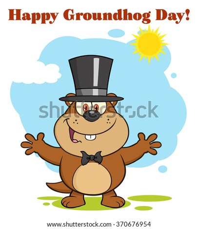 Happy Marmot Cartoon Character With Open Arms In Groundhog Day. Vector Illustration With Background And Text - stock vector