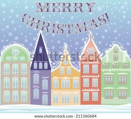 Happy Marry Christmas winter city postcard, vector illustration