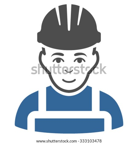 Happy Mechanic vector icon. Style is bicolor flat symbol, cobalt and gray colors, rounded angles, white background. - stock vector